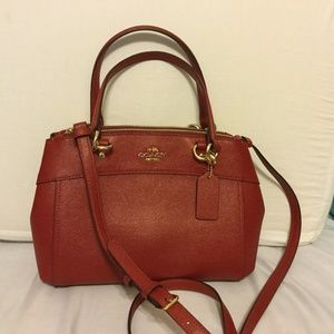 COACH Mini Brooke Carryall Leather Dark Red NWT
